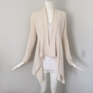 Autumn cashmere cable knit open front cardigan